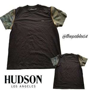 Men's Hudson Jeans Blk Tee w/zip off Camo Sleeves